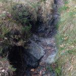 Erosion zwischen Kletterstelle und Platte